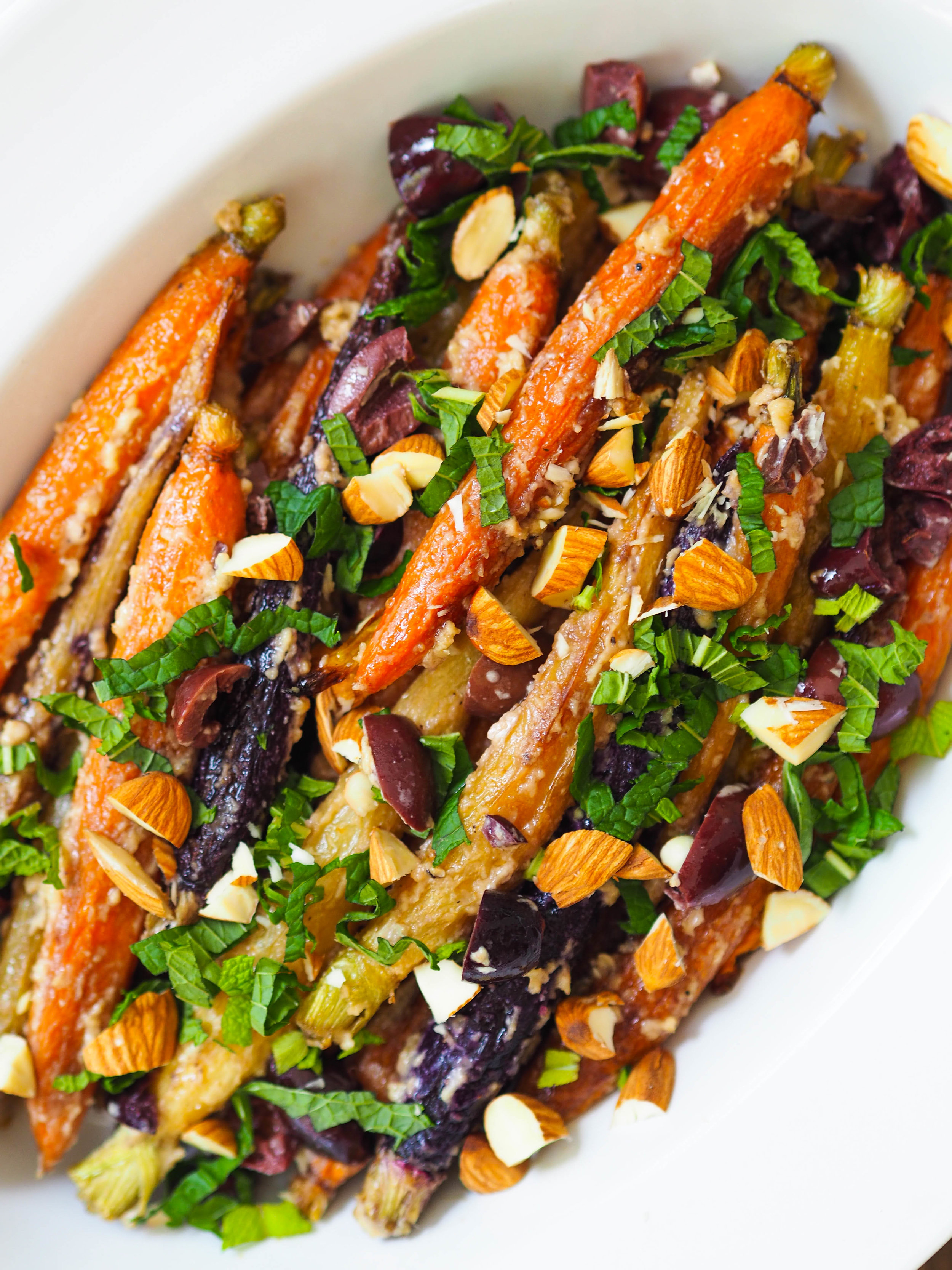 Roasted carrots with tahini olives and mint