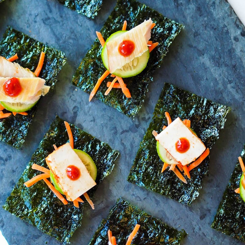 Toasted Nori Snacks with Smoked Trout