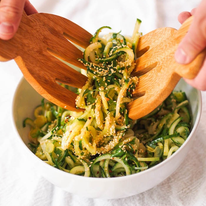 Spiralized Cucumber Salad with Soy Dressing