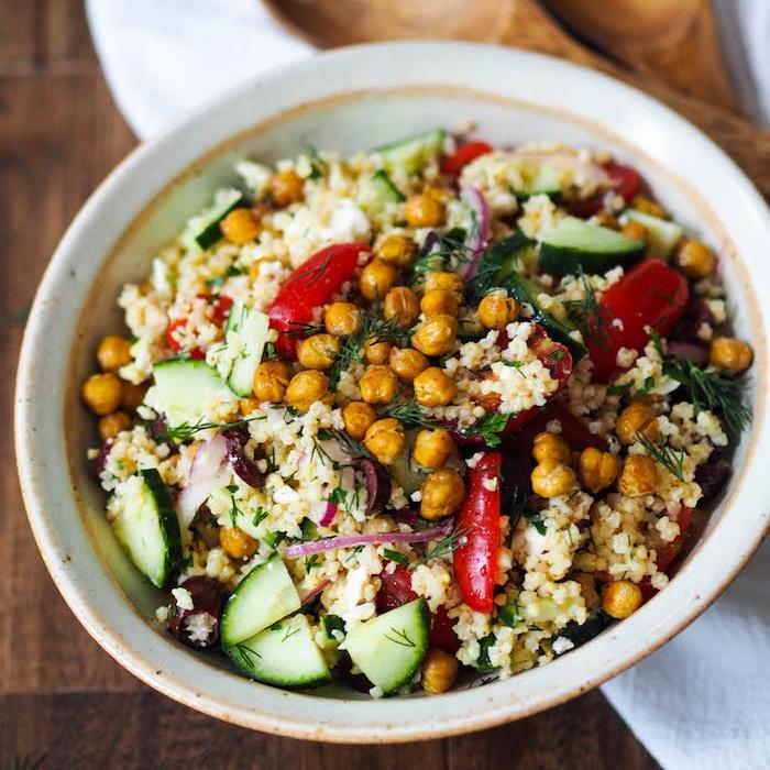 Mediterranean Millet Salad with Roasted Chickpeas