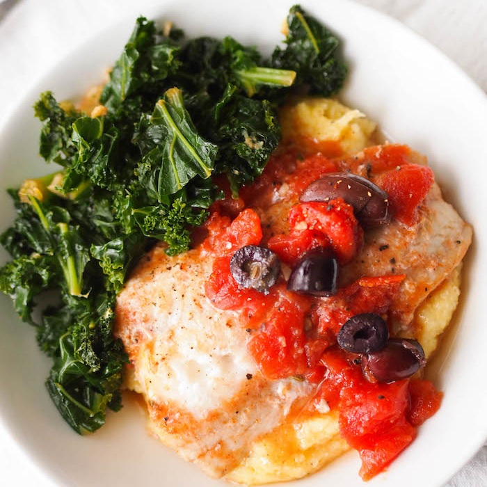 Mediterranean Cod in Tomato Olive Sauce