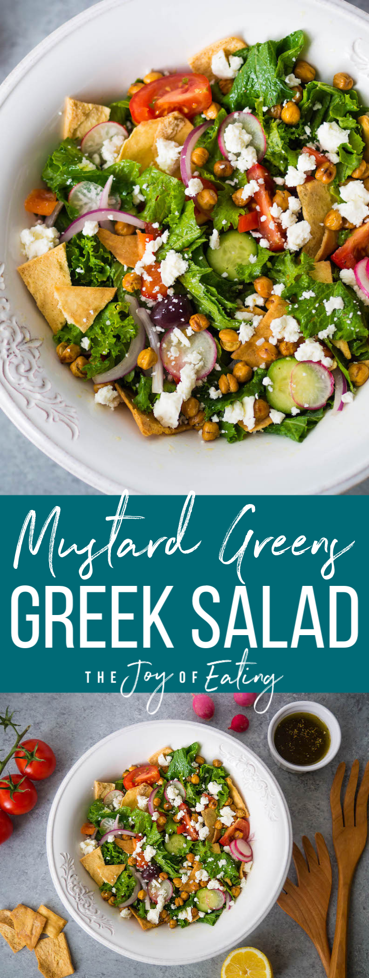 Mustard greens Greek salad with crispy roasted chickpeas and pita croutons! #mustardgreens #greeksalad #salad #vegetarian #healthyrecipe