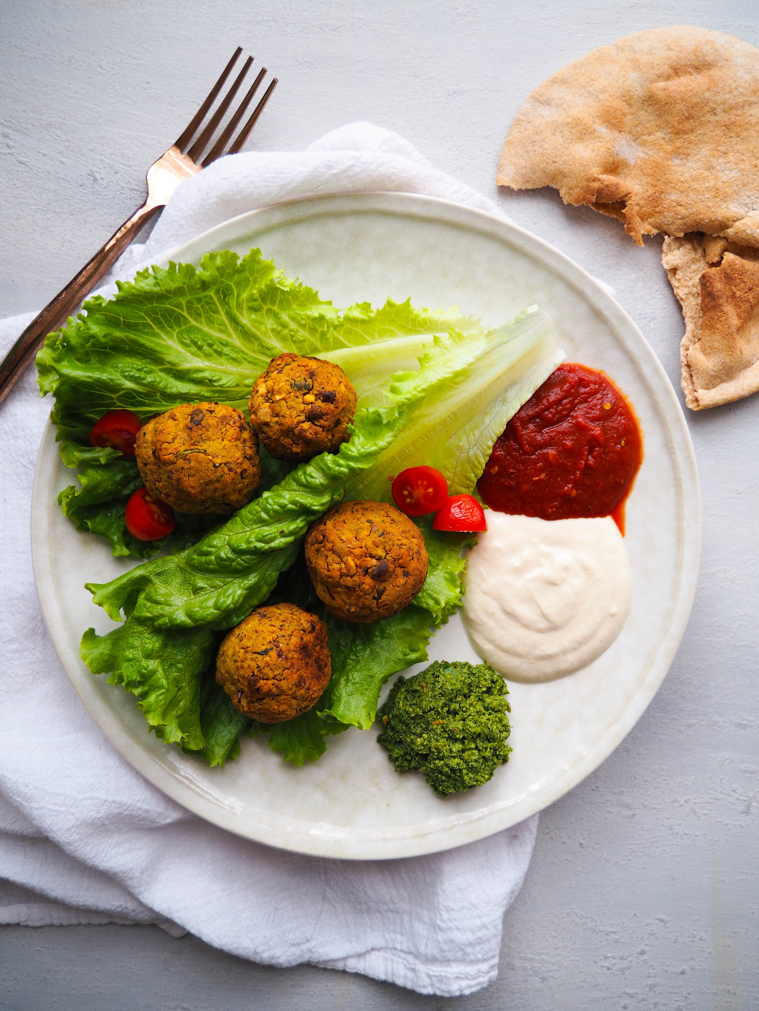 Easy Baked Green Falafel with Three Dipping Sauces
