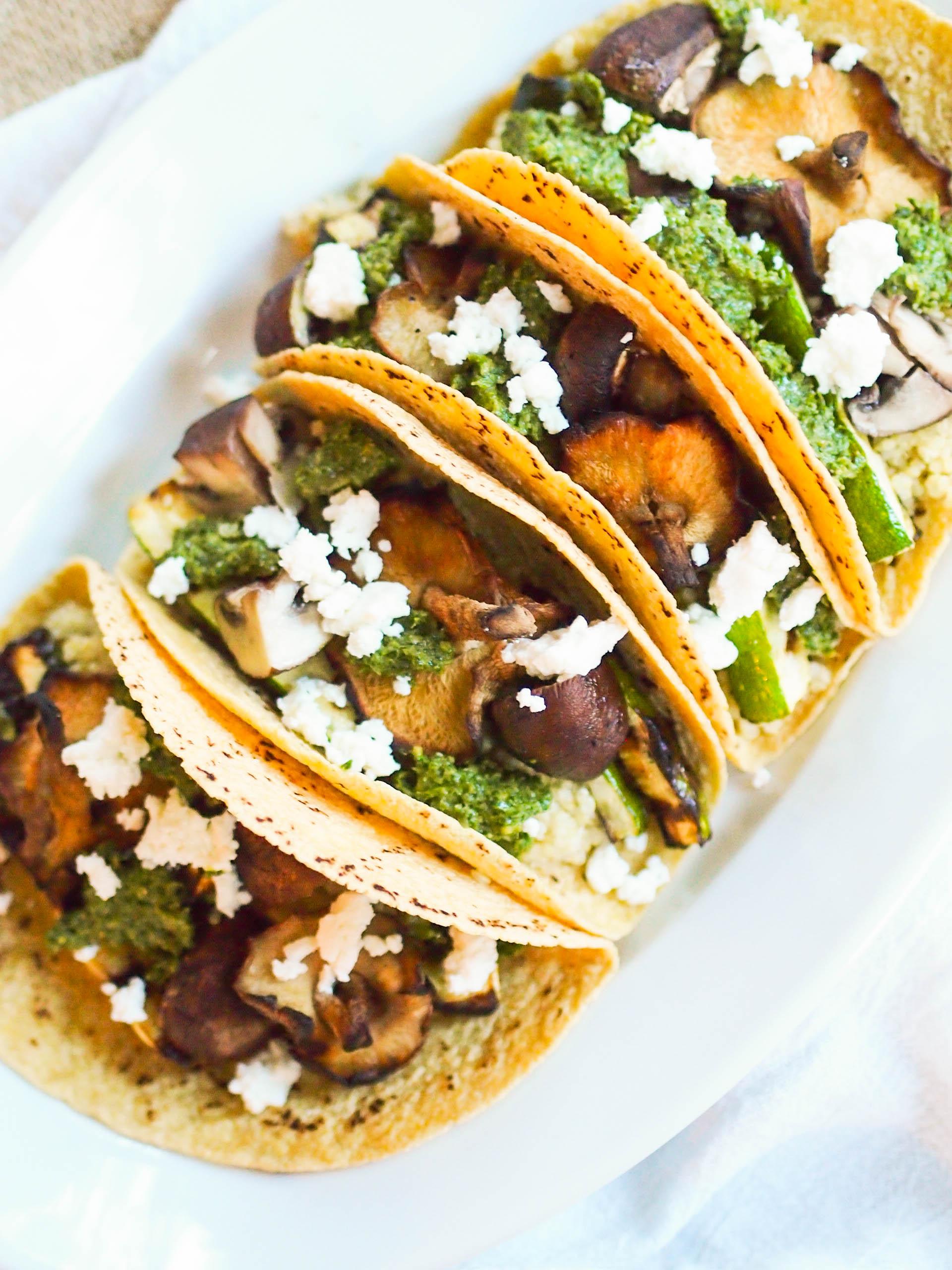 Vegetarian Grilled Vegetable and Quinoa Tacos with Cilantro Pesto