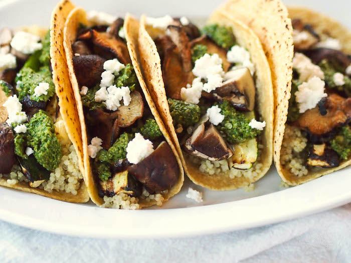 Healthy Grilled Vegetable and Quinoa Tacos with Cilantro Pesto