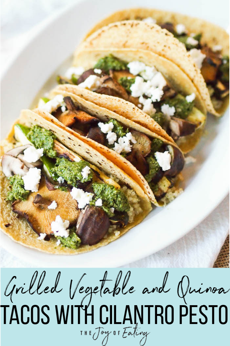 Grilled Vegetable and Quinoa Tacos with Cilantro Pesto! Packed with protein from quinoa, and easy to throw together on the grill! #summer #taco #mushroom #grilling