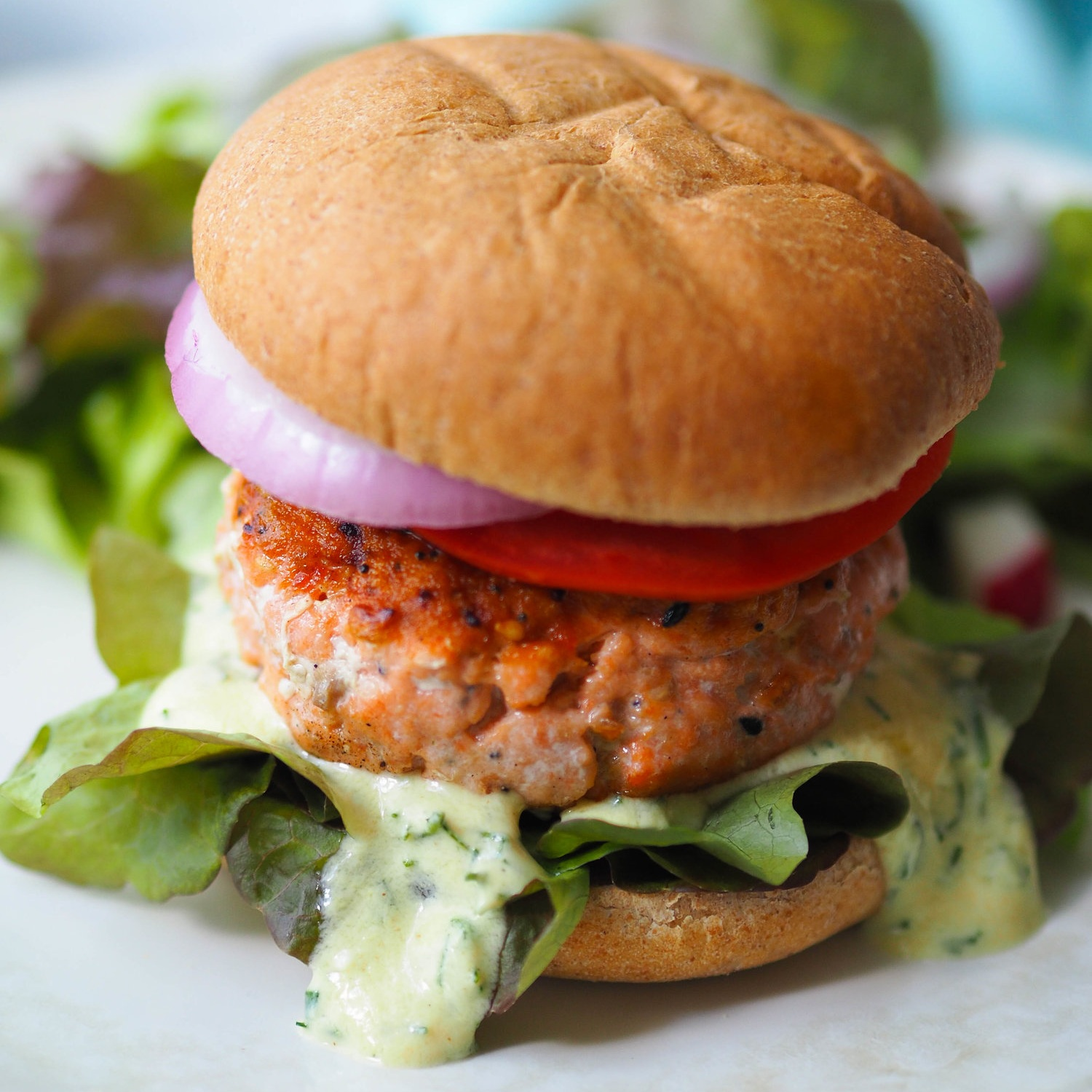 Everything Bagel Salmon Burger with Creamy Dill Sauce
