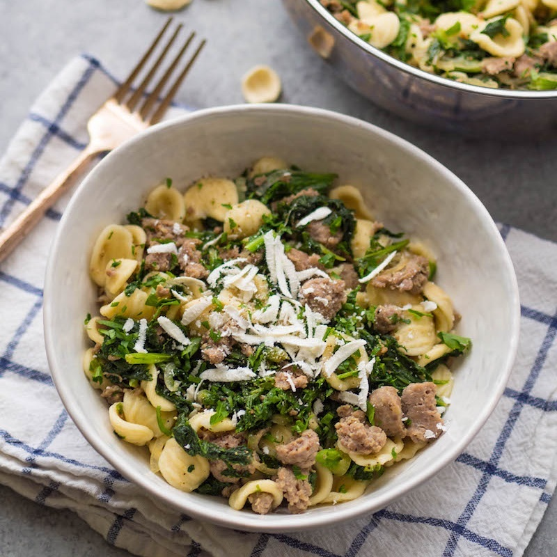Orecchiette with Mustard Greens and Sausage