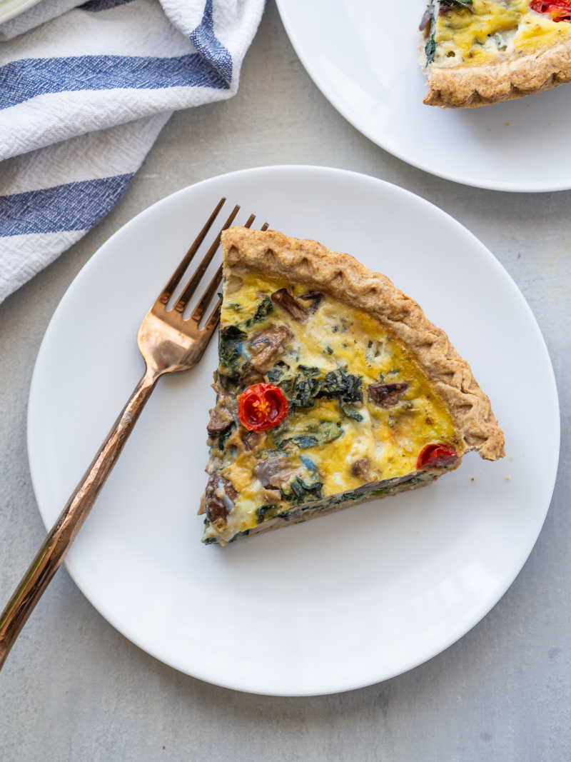 Easy Kale, Mushroom and Blue Cheese Quiche