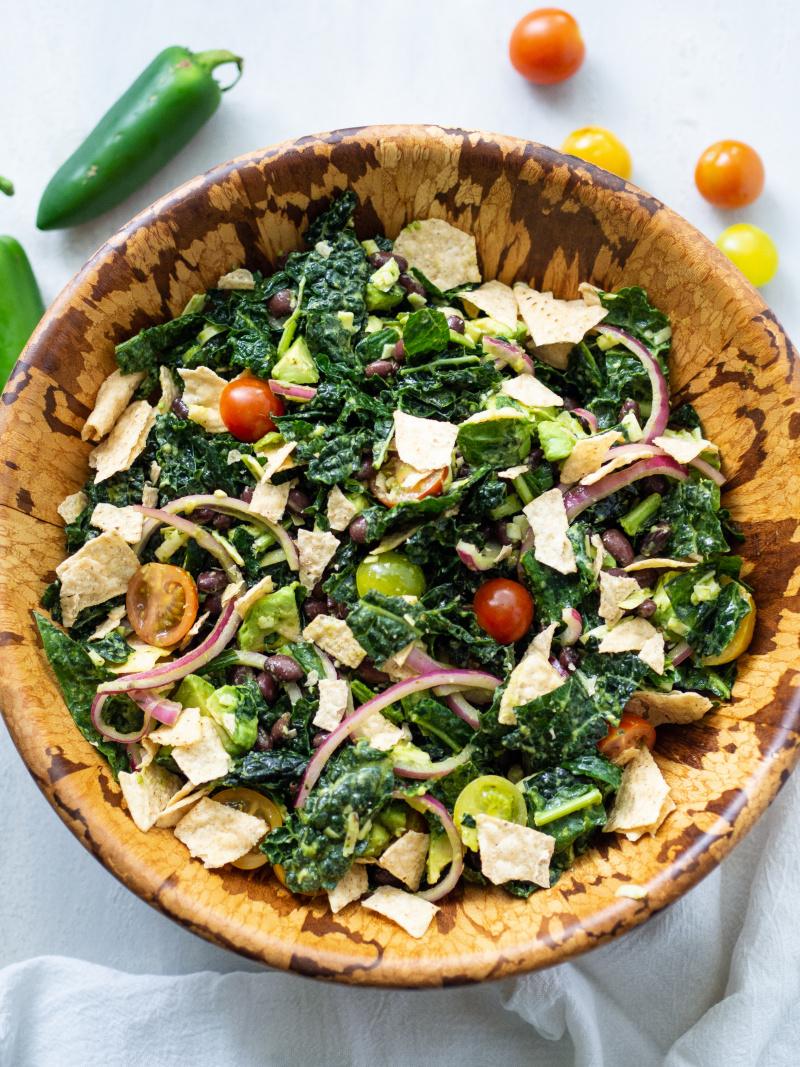 Vegetarian Kale Tortilla Salad with Jalapeno Lime Dressing