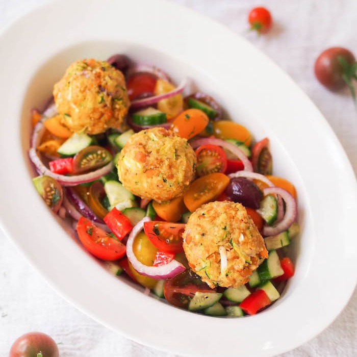 Zucchini Chickpea Balls with Chopped Greek Salad