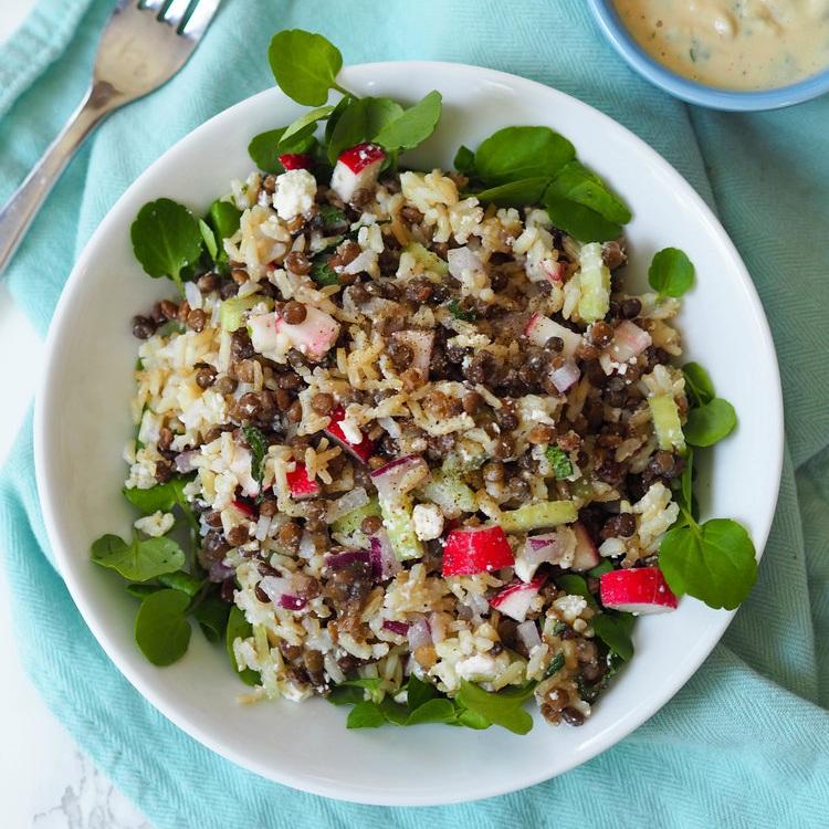 Crunchy Lentil and Brown Rice Salad with Honey-Citrus Tahini Dressing