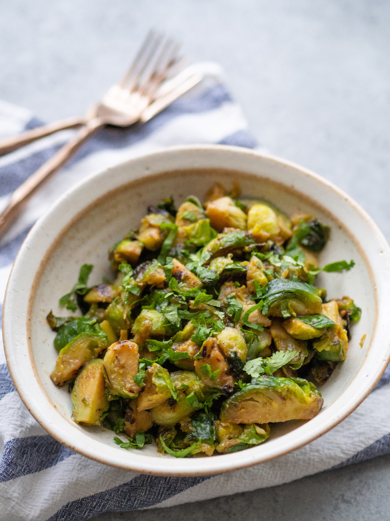 Healthy Maple Miso Brussels Sprouts