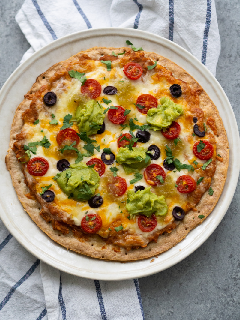 Delicious Mexican Cauliflower Crust Pizza.