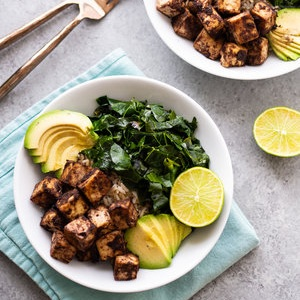 Easy Jerk Tofu Bowl with Garlicky Collards