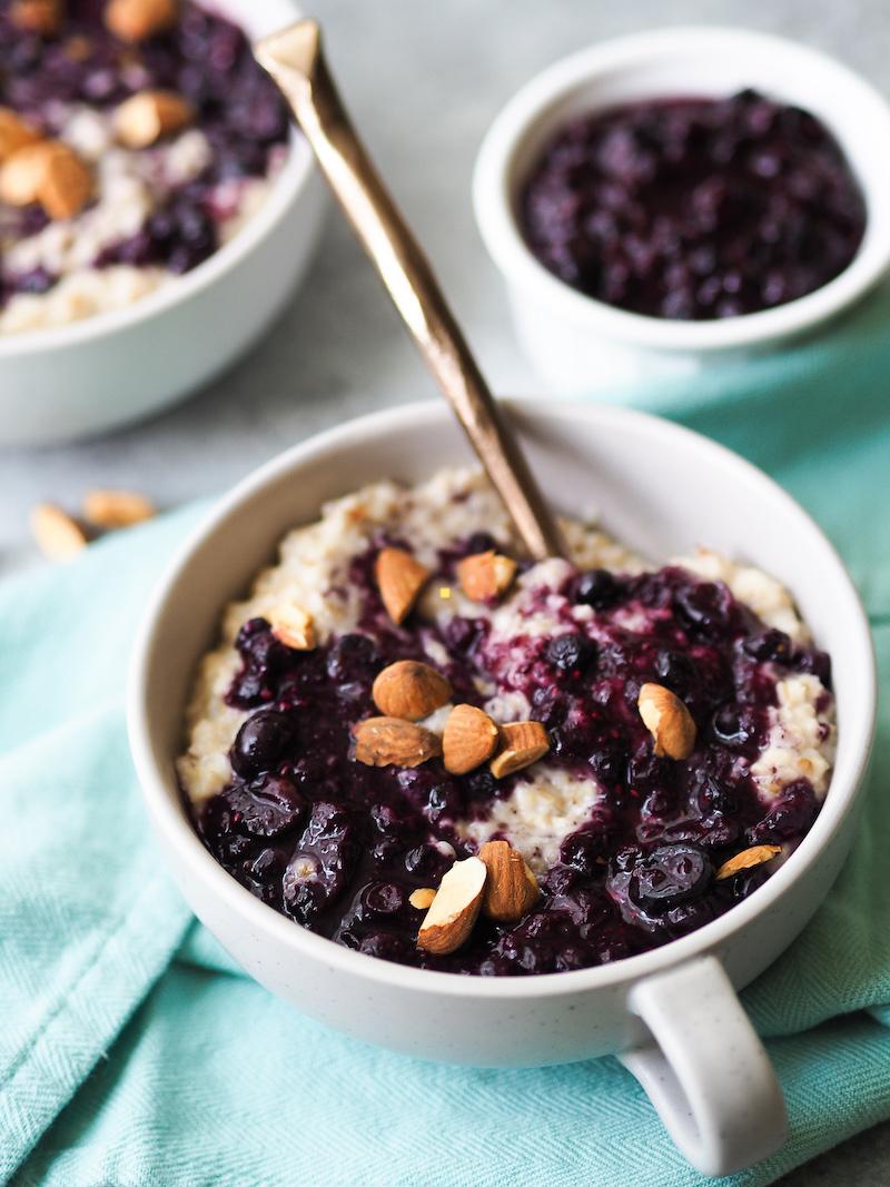 Chia Blueberries and Cream Oatmeal