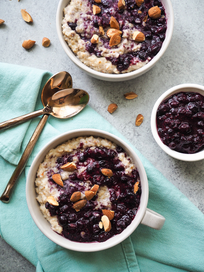 Low Sugar Blueberries and Cream Oatmeal