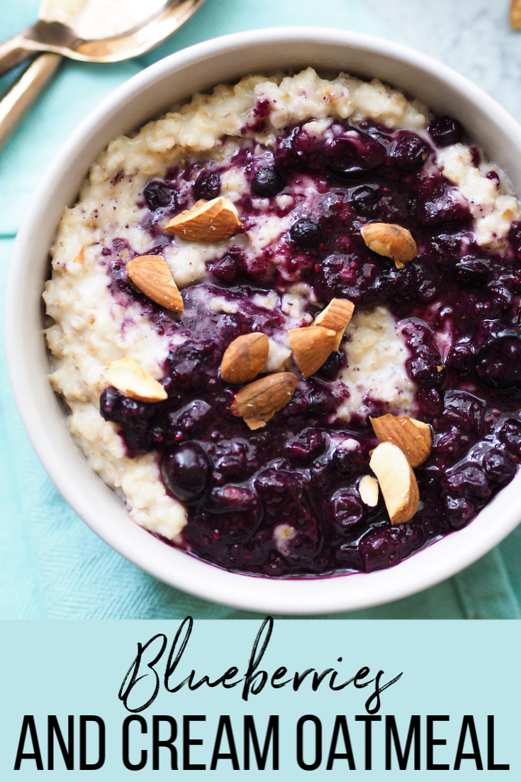 Easy and healthy blueberries and cream oatmeal! Creamy toasted coconut oats are topped with a low sugar blueberry chia jam! #oatmeal #breakfast #lowsugar #healthybreakfast #vegan
