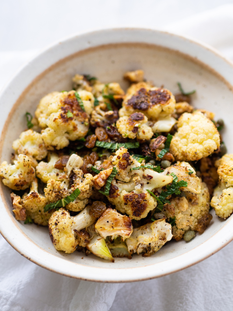Healthy Za'atar Roasted Cauliflower with Golden Raisins