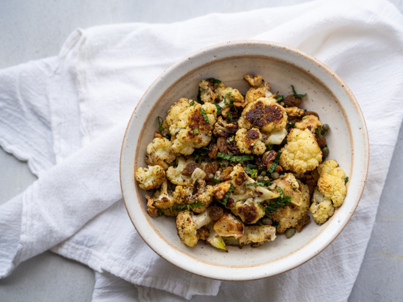 Easy Za'atar Roasted Cauliflower with Golden Raisins