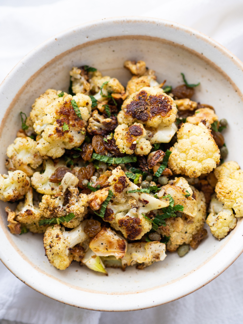 Quick and Easy Za'atar Roasted Cauliflower with Golden Raisins