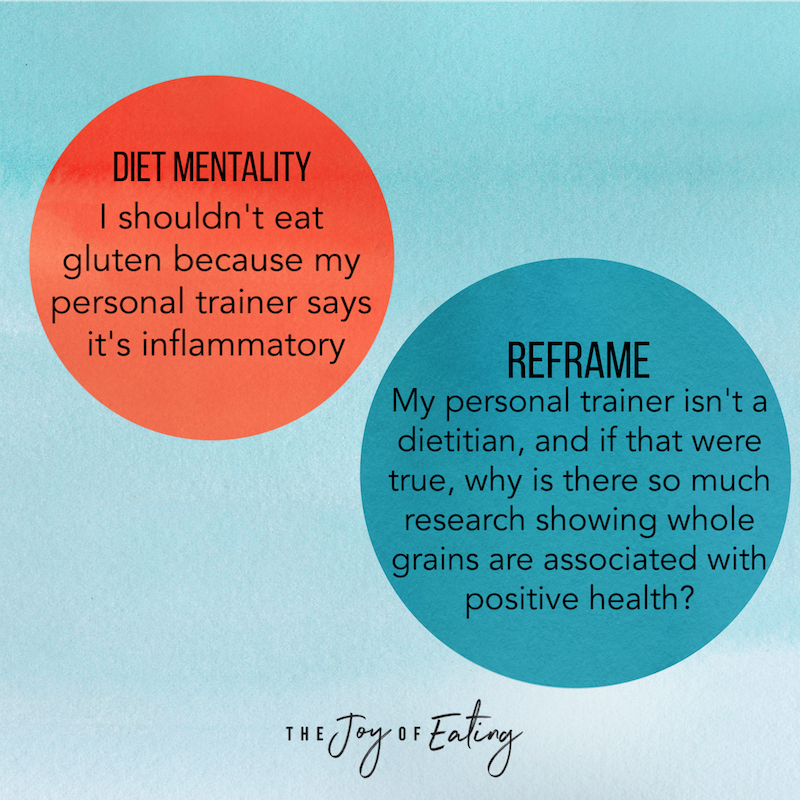 How to Reframe Diet Mentality Thoughts in Intuitive Eating