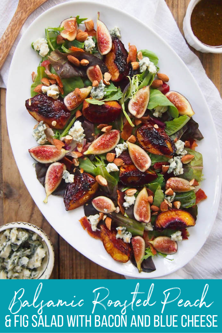 This Balsamic Roasted Peach and Fig Salad with Bacon and Blue Cheese was inspired by a summer trip to California wine country! #salad #glutenfree #healthyrecipe #summer