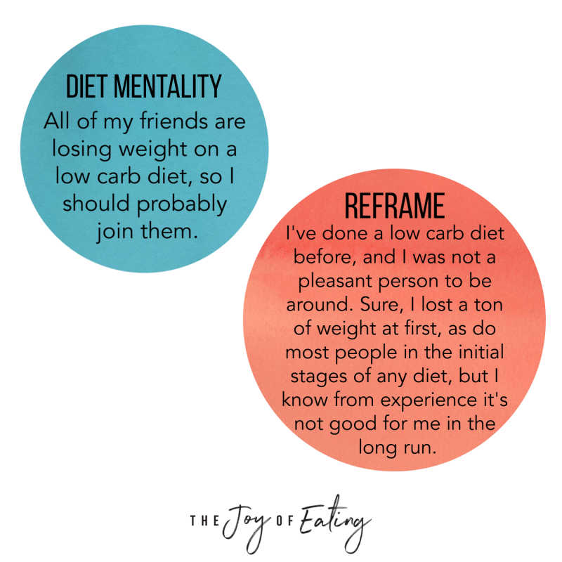 Tips for How to Reframe Diet Mentality Thoughts in Intuitive Eating