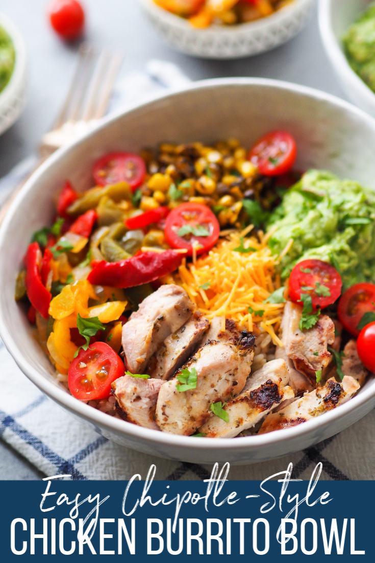Make Chipotle at home with this easy chicken burrito bowl with homemade guacamole! It's perfect for meal prep! #healthyrecipe #glutenfree #grilled #chipotle #brownrice #mealprep
