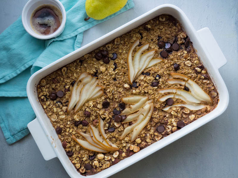 Healthy Baked Oatmeal with Browned Butter, Pear and Dark Chocolate