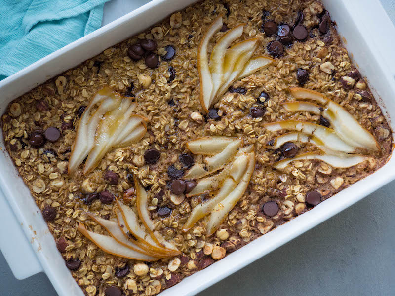 Make Ahead Healthy Baked Oatmeal with Pear and Dark Chocolate
