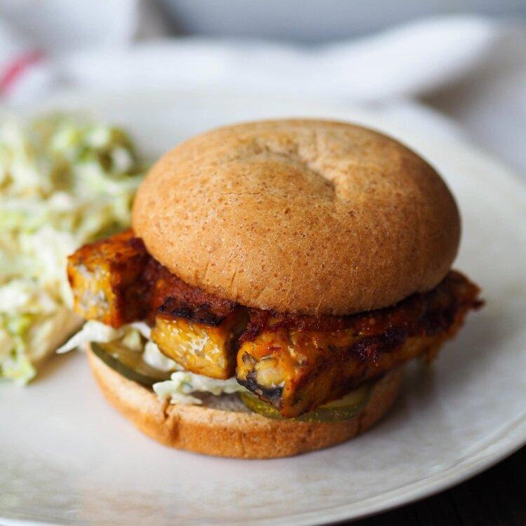 Honey Bourbon Barbecue Tempeh Sandwich