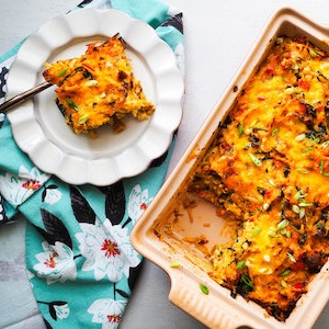 Hash Brown Breakfast Casserole with Sausage and Kale