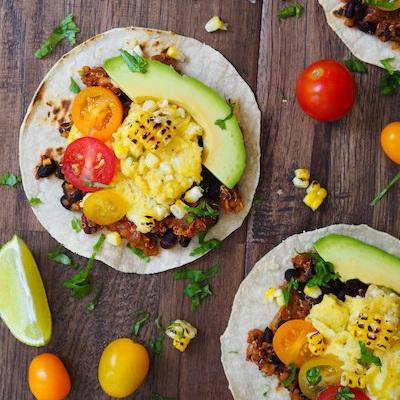 Spicy Quinoa and Black Bean Breakfast Tacos
