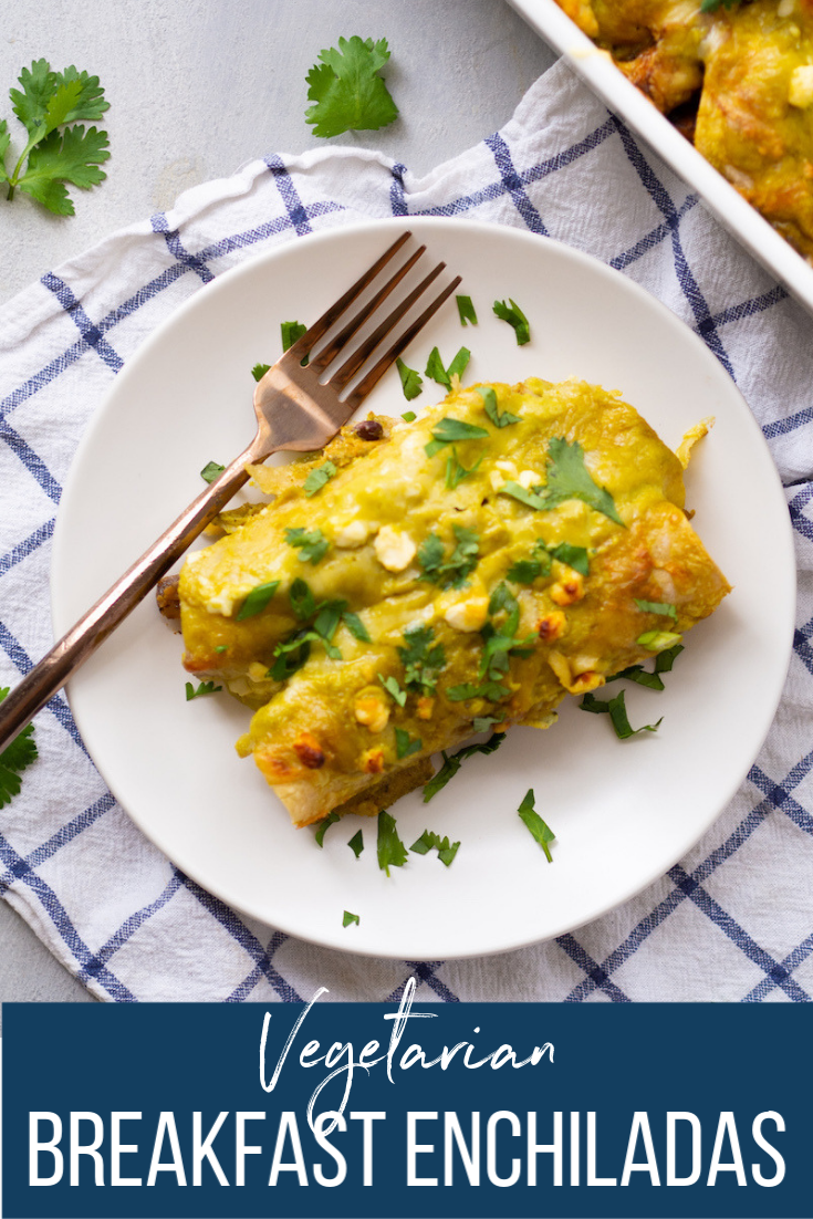 These easy vegetarian breakfast enchiladas are the best make ahead breakfast! Packed with spicy sweet potatoes, black beans and topped with spicy green sauce and melty cheese! #rachaelhartleynutrition #thejoyofeating #vegetarian #breakfast #mealprep #healthyrecipe #glutenfree #enchiladas #healthyenchiladas #sweetpotatoes