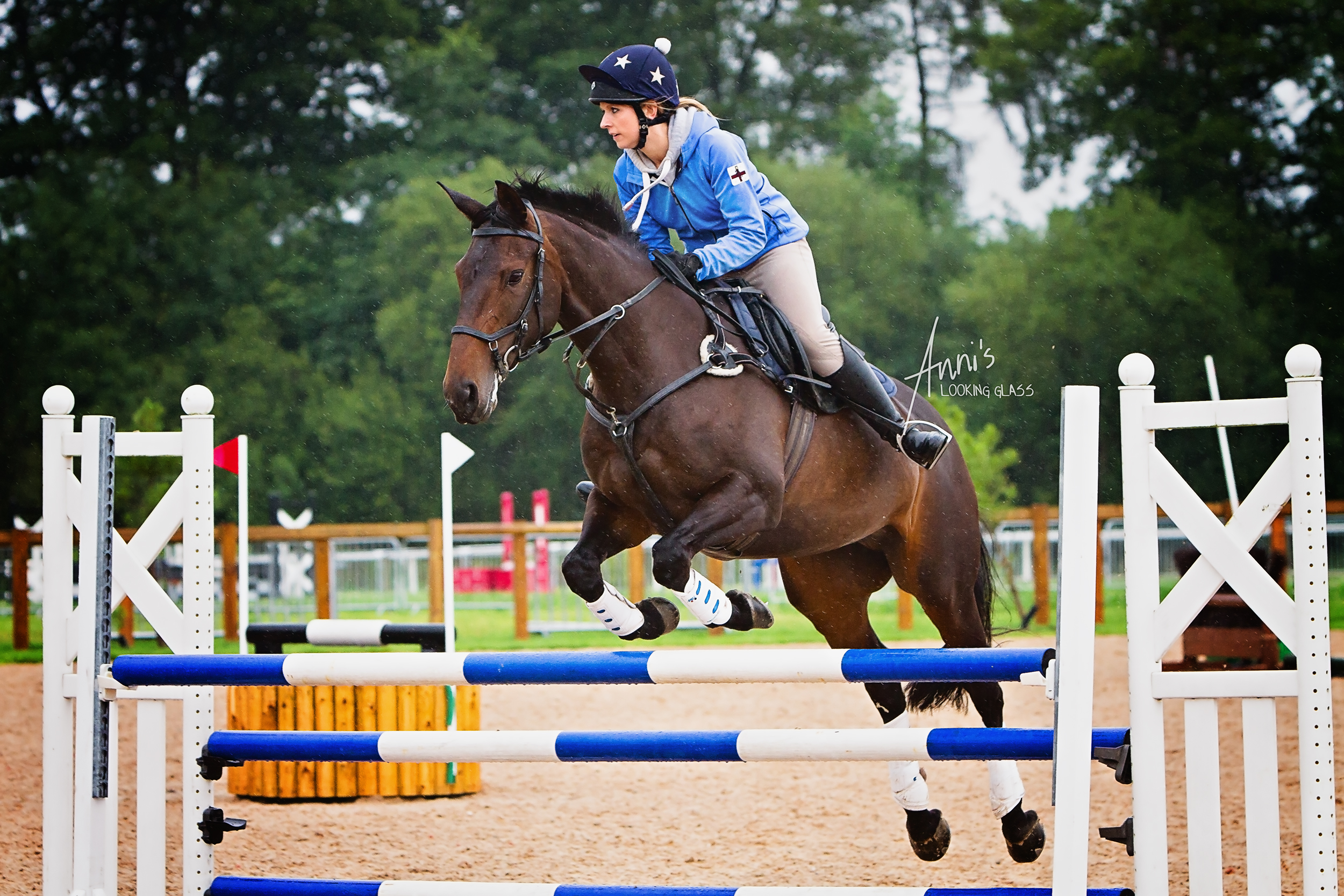 Eventing requires skill: I was fascinated by the spatial awareness of the riders and the horses' surefootedness on slippery ground.