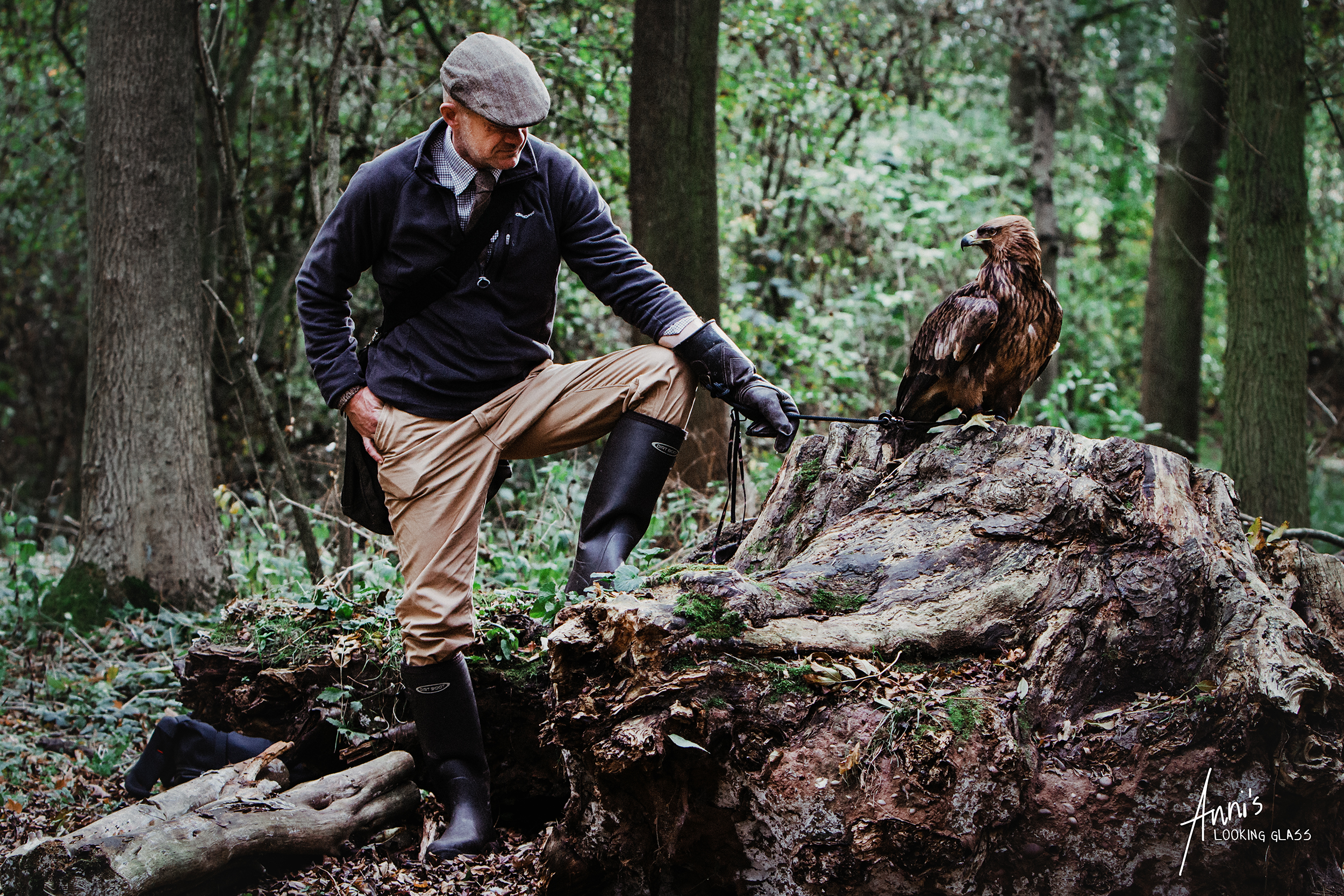 An eagle and its male handler in the forest