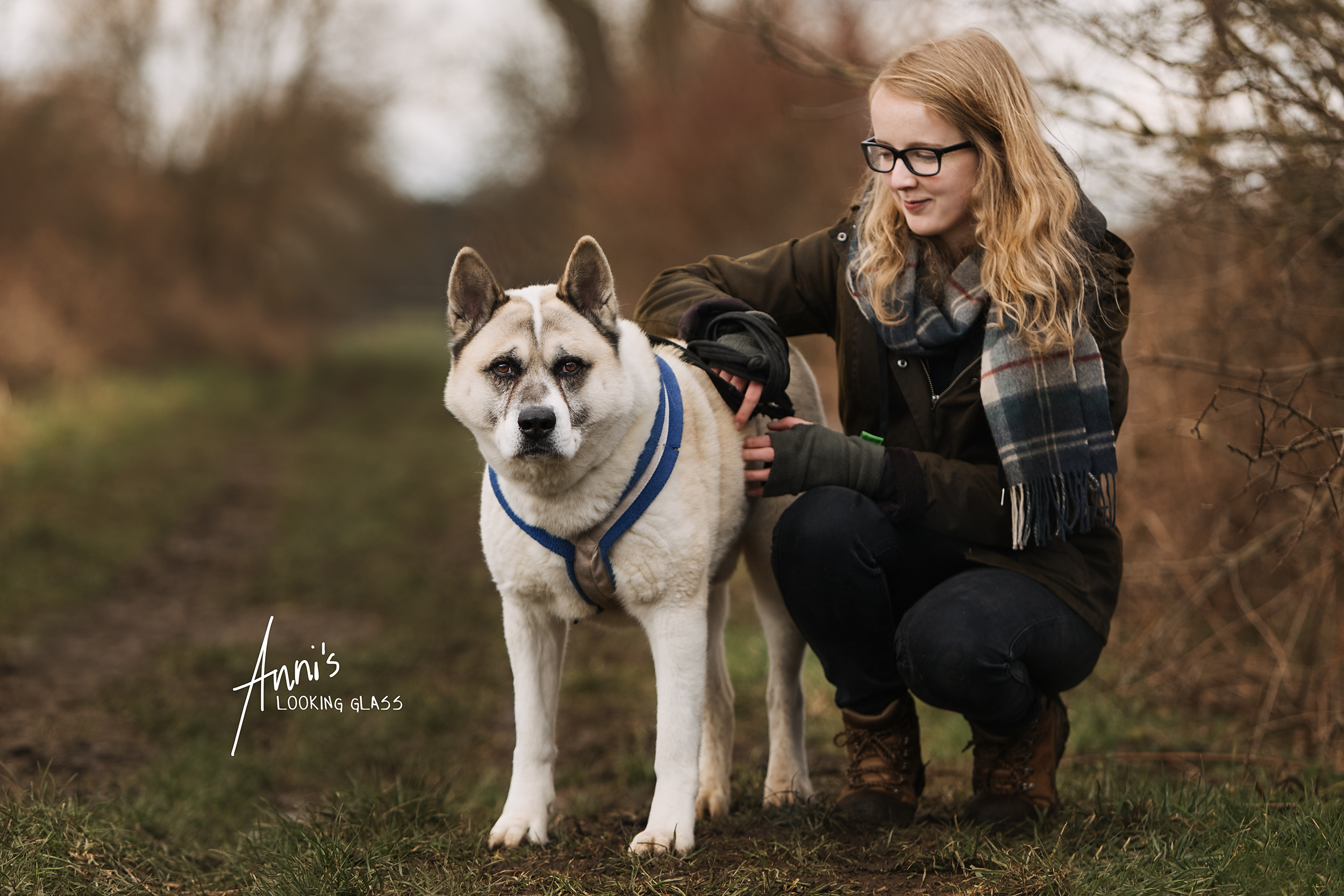 Dog Photographer: A girl and a big white dog near Hathern, Loughborough, Leicestershire. 6th March, 2018