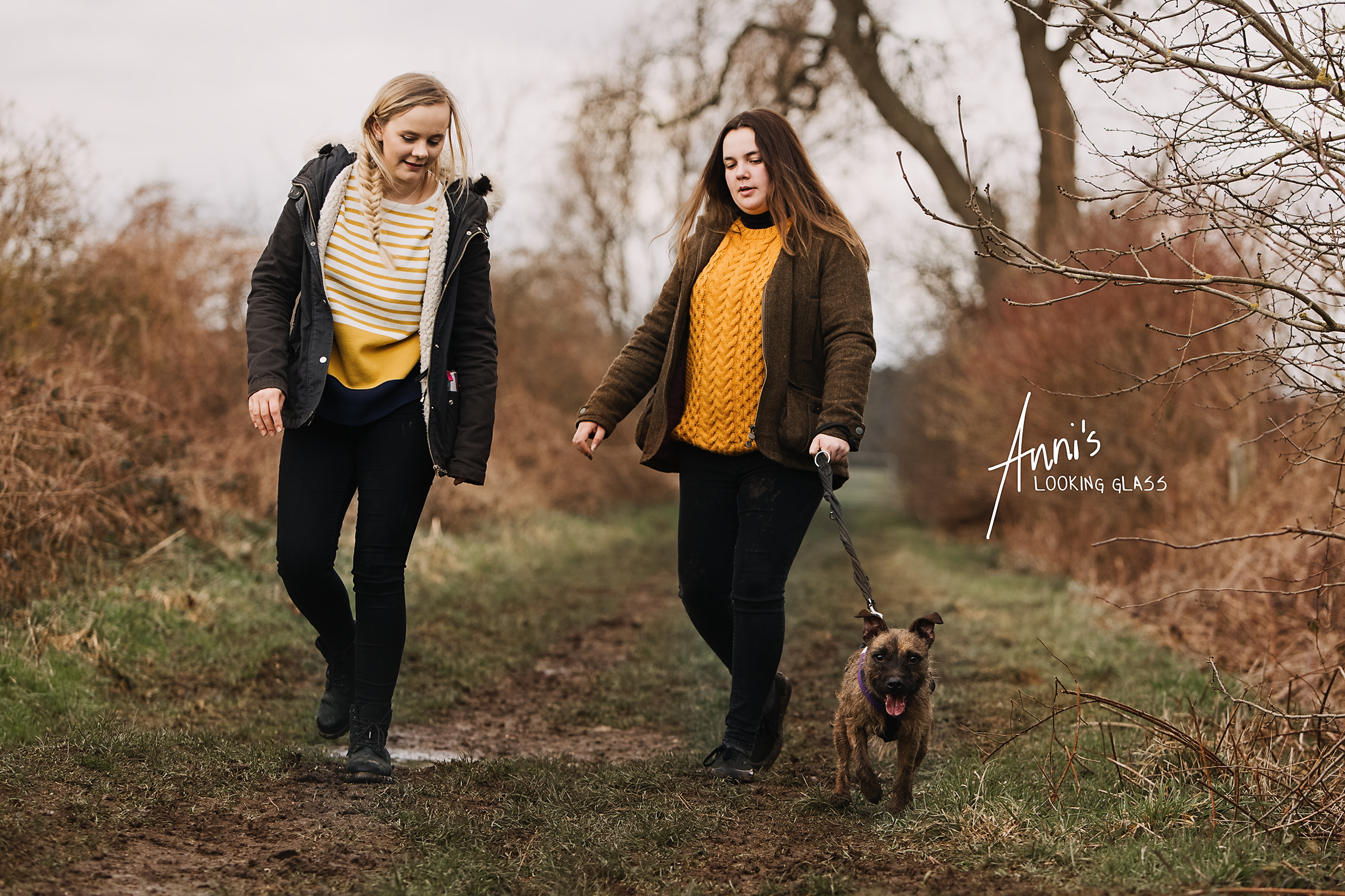 Pet photographer in Loughborough | Two girls walking a rescue dog near Hathern, Leicestershire | 6th March 2018