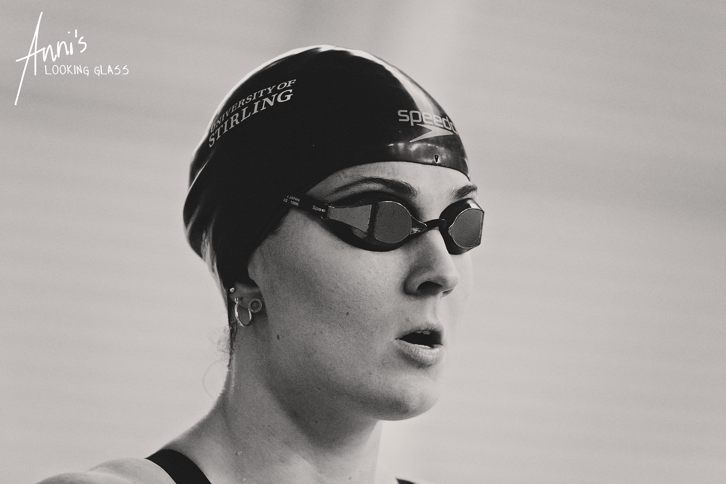 Loughborough Photographer: Black and white image of Scottish swimmer Danielle Joyce waiting for the start of her race at Loughborough Univesity. 24th March 2018