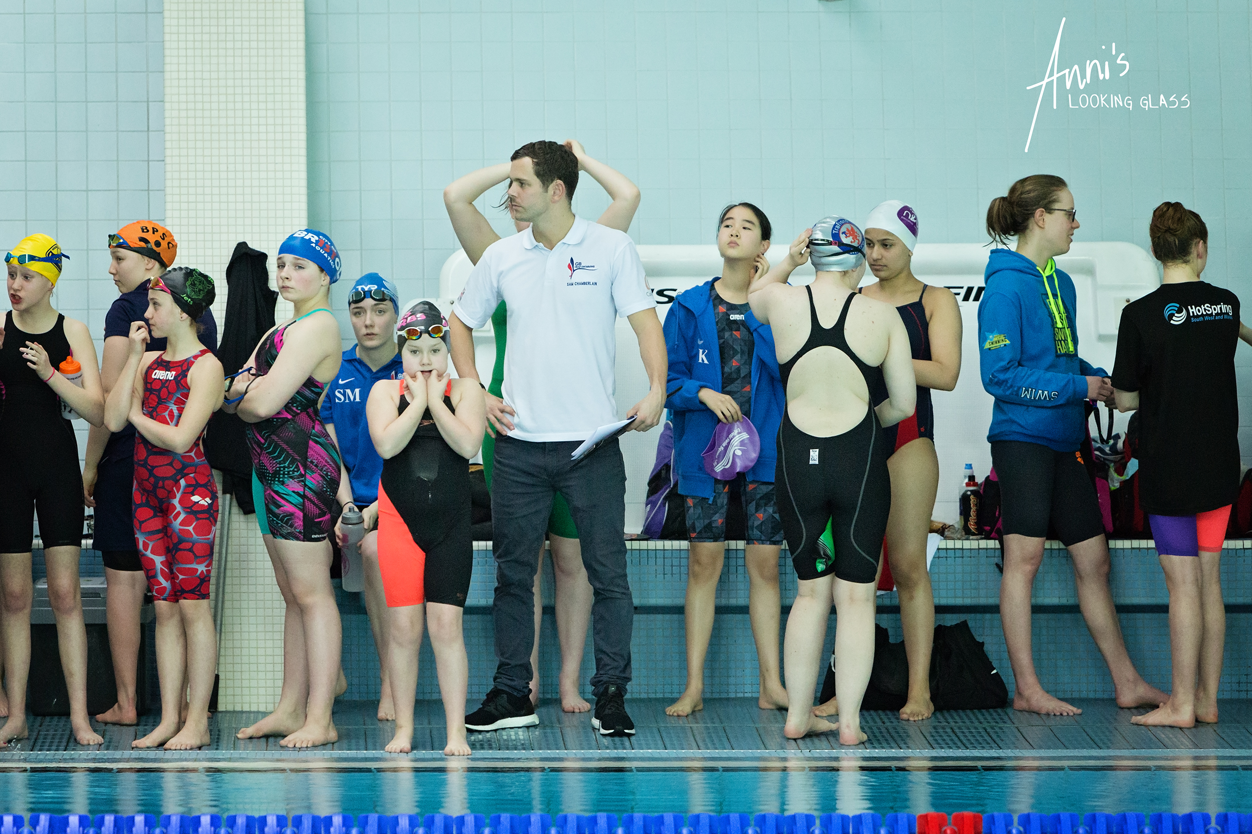 Loughborough Photographer: Swimmers waiting between races at Loughborough University's pool. 24th March 2018