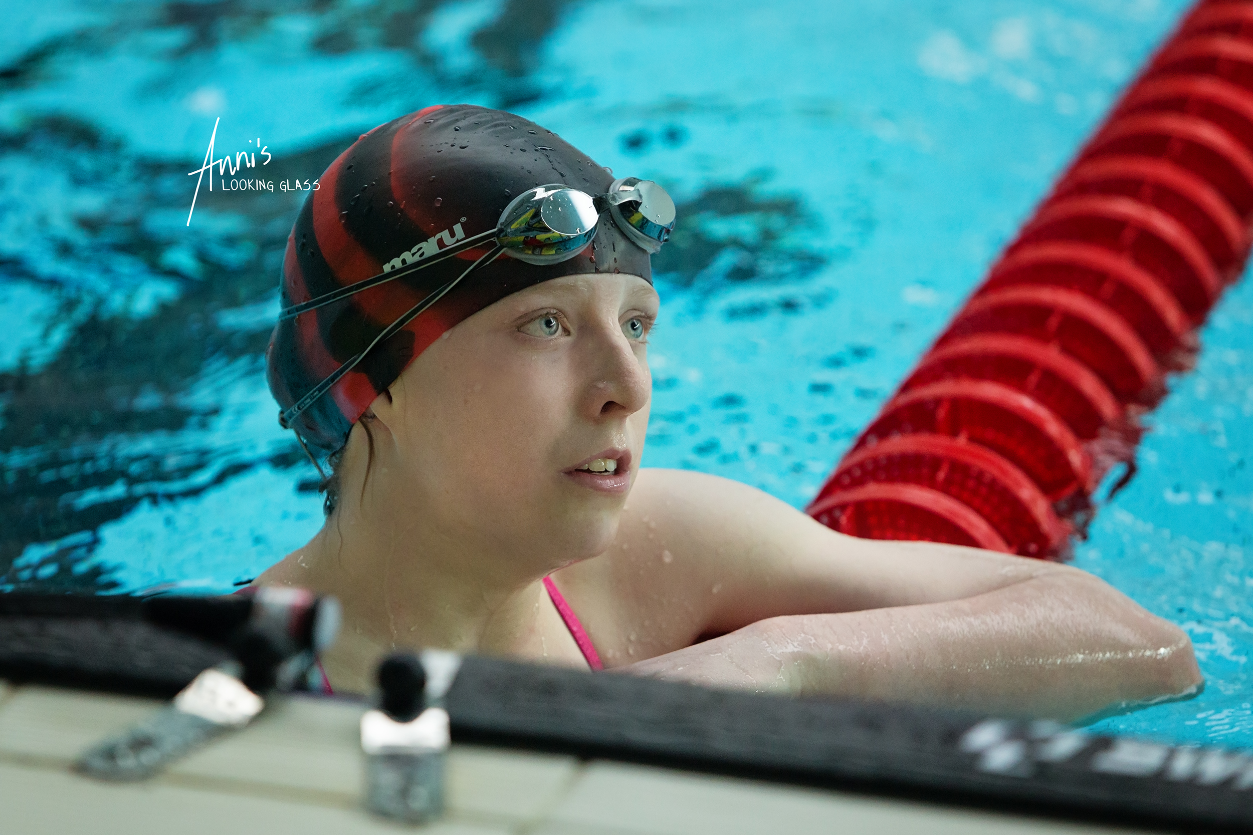 Loughborough Photographer: a young female swimmer after racing at Loughborough University's pool. 24th March 2018