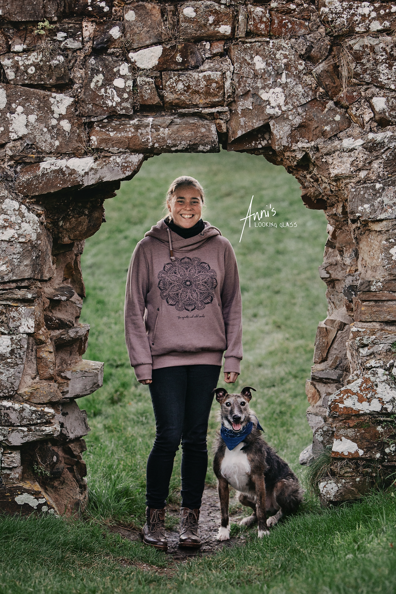 Dog Photographer Loughborough, Leicestershire: A young woman and her greyhound looking standing in a stone arch in Co. Waterford, Ireland. 24th April 2018
