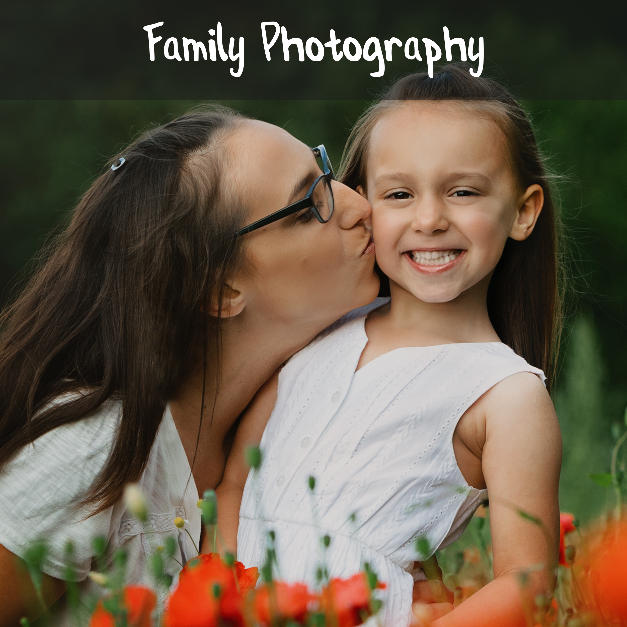 A mother kisses her young daughter on the cheek in a poppy field near Shepshed, Loughborough, Leicestershire