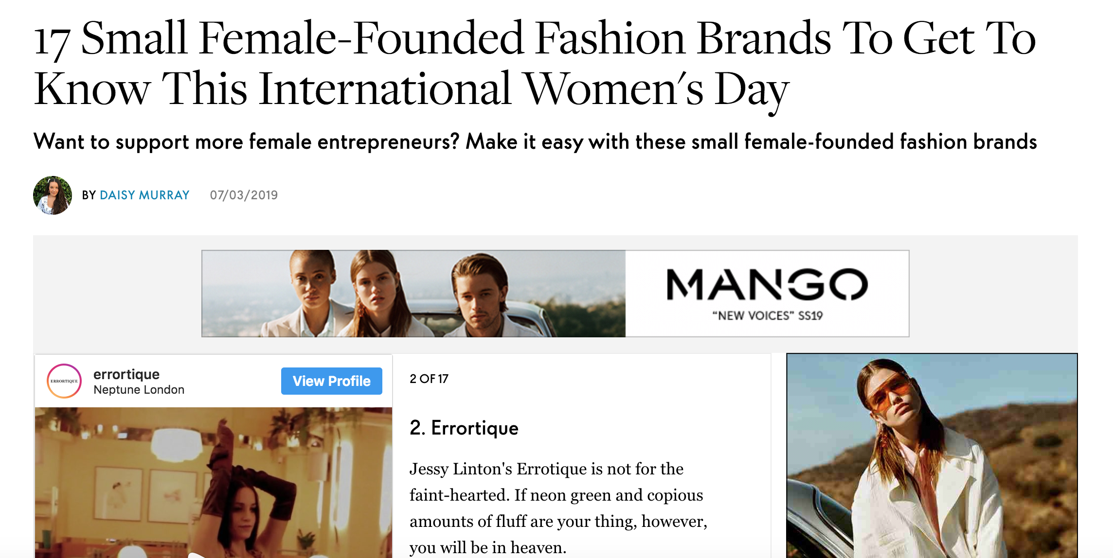 "Elle UK - ""17 Small Female-Founded Fashion Brands To Get To Know This International Women's Day."""