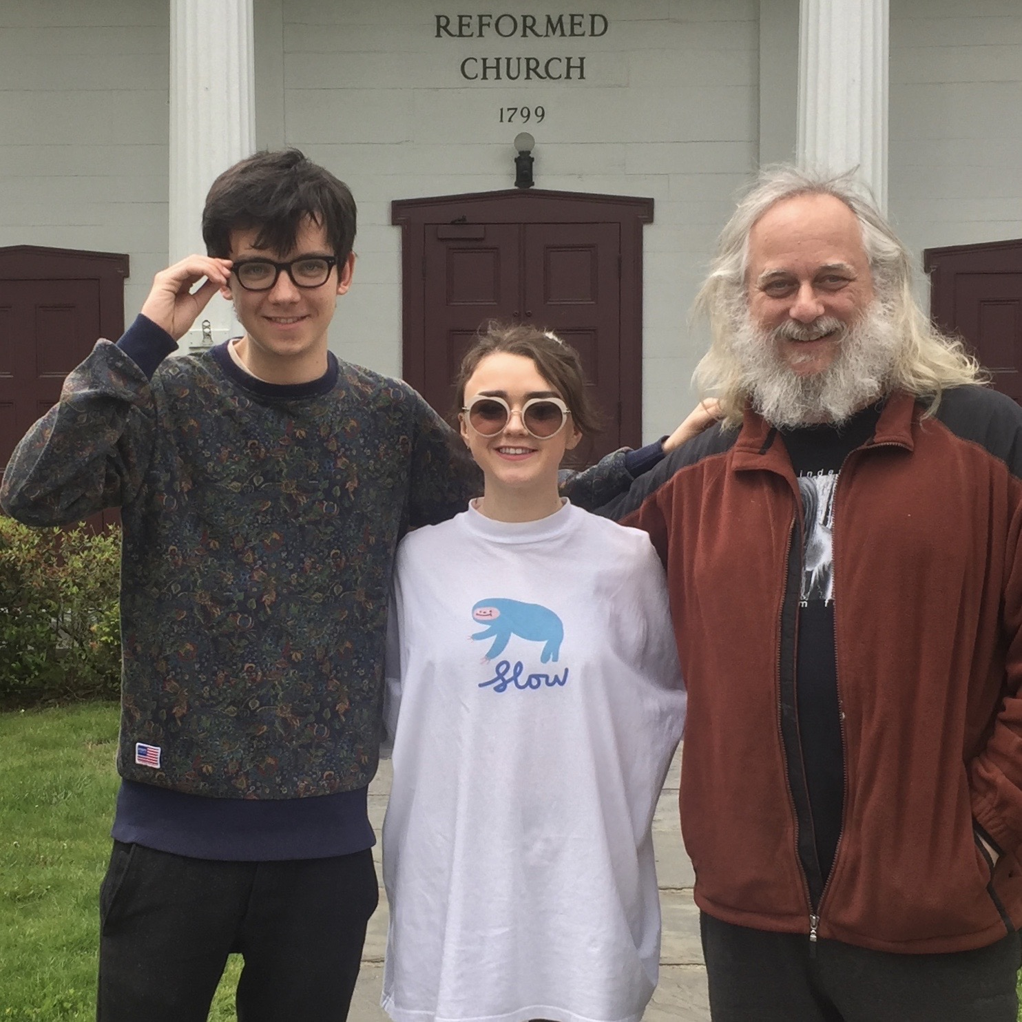 Asa Butterfield, Maisie Williams and Hudson Valley Film Commission director Laurent Rejto, in Woodstock.