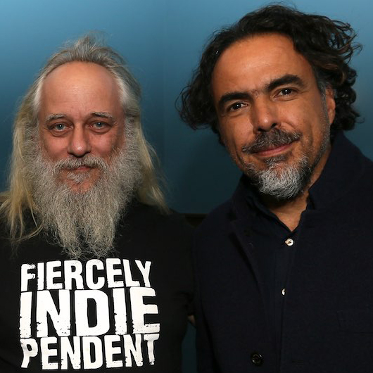 Hudson Valley Film Commission director Laurent Rejto with Alejandro González Iñárritu at 2016 Woodstock FIlm Festival