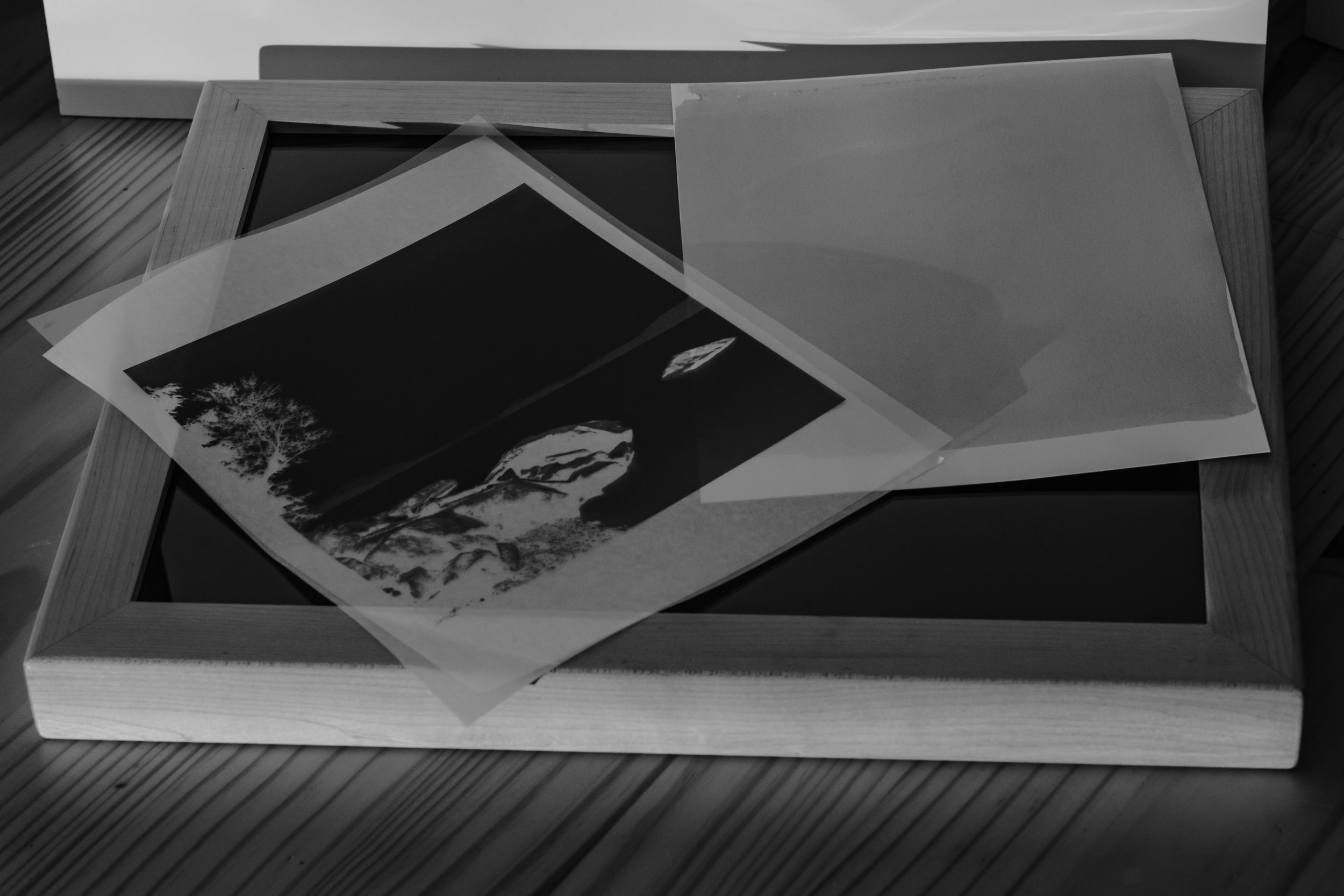 Exposure, Part I: - When the emulsion has dried, it is now time to place the negative in the desired position for exposure. Since this is a contact printing process (meaning you do not use a photographic enlarger) the negative size dictates the size of the final print. So, an 8x10 inch negative will result in an 8x10 inch print.Negatives can be made traditionally with a Large Format camera (4x5, 5x7, 8x10, 11x14, etc..), or digitally. Here is a link to a great source on printing digital negatives:
