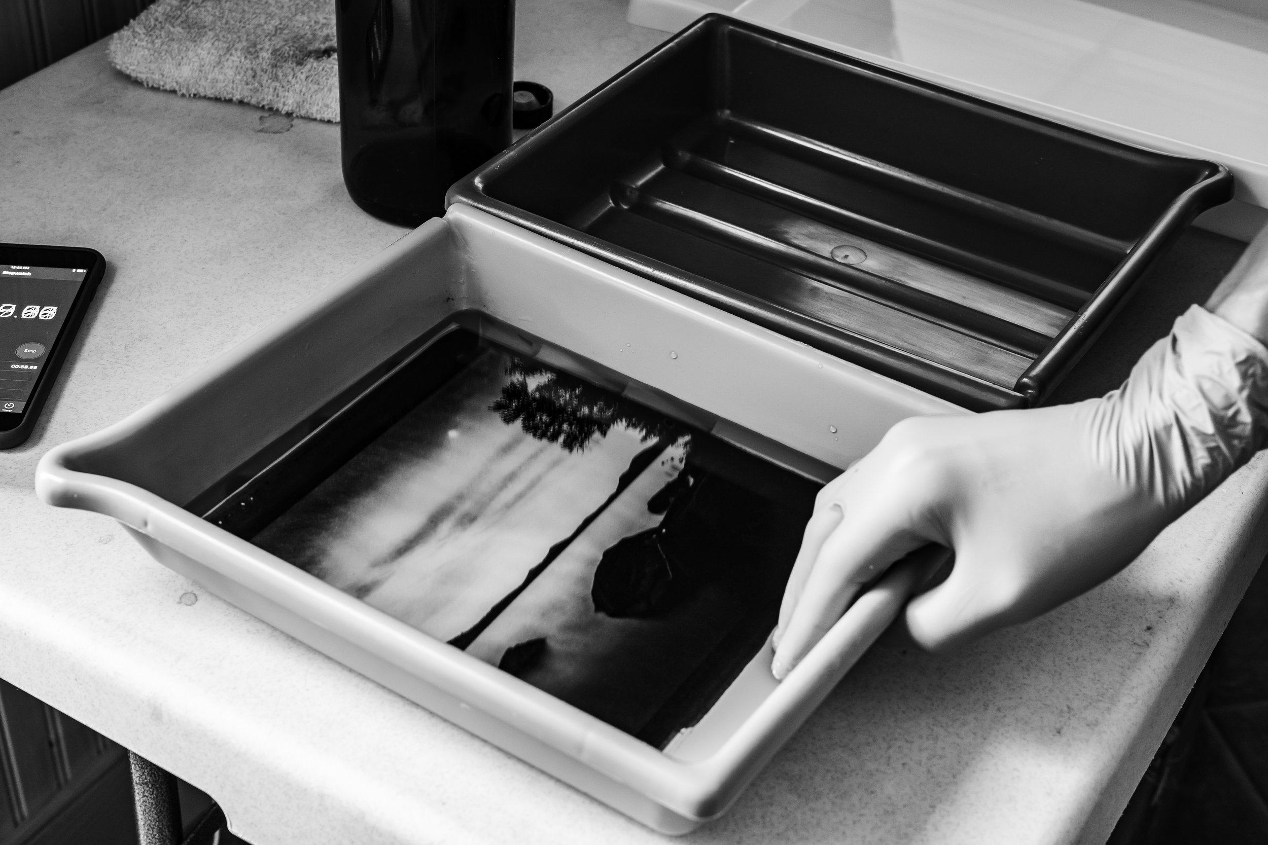 Development, Part III: - While a silver gelatin print slowly comes to life in developer, development for a Platinum Palladium print happens almost instantly. Especially when using developers at a higher temperatures.