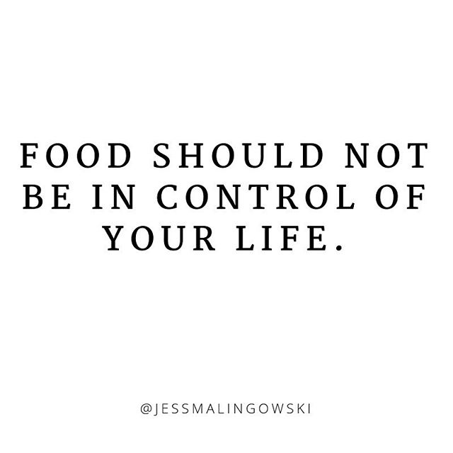 "YOU should be in control of your life, not food.  Not food rules.  Not diets.  Not calorie trackers.  Food rules should not get to decide whether or not you go to dinner with friends.  Diets should not get to decide whether or not you book that trip to a new place because travel food is ""bad"". Your calorie tracker should not get to decide whether or not you eat something after 7pm because you are legit hungry af. - Following food rules, listening to diets, and tracking calories sucks the life out of you.  You become OBSESSED with all things food related.  You constantly read up on the latest diet trends.  You get stressed when you cannot find the food you ate on your calorie tracking app. - You cannot live your life to its fullest if you are always trying to keep up with the latest fad diets and food rules.  Your mind needs space for all of the other awesome things you want to do. . . . #foodfreedom #antidiet #foodguiltfree #ditchthediet #quotes #liveyourlife #ieatwhatiwant #nofoodrules #dietssuck"